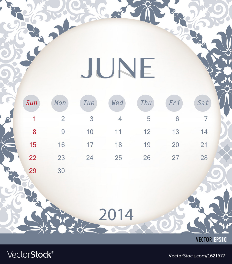 2014 calendar vintage calendar template for june vector image reheart Image collections
