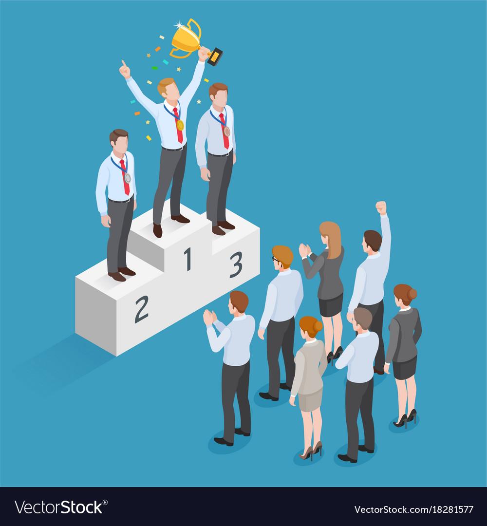 Business people isometric concept design winner