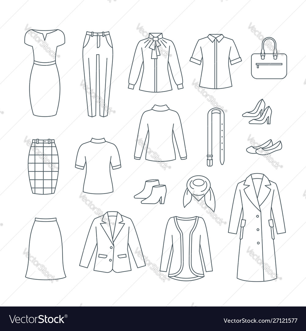 Business woman basic clothes and shoes line icons