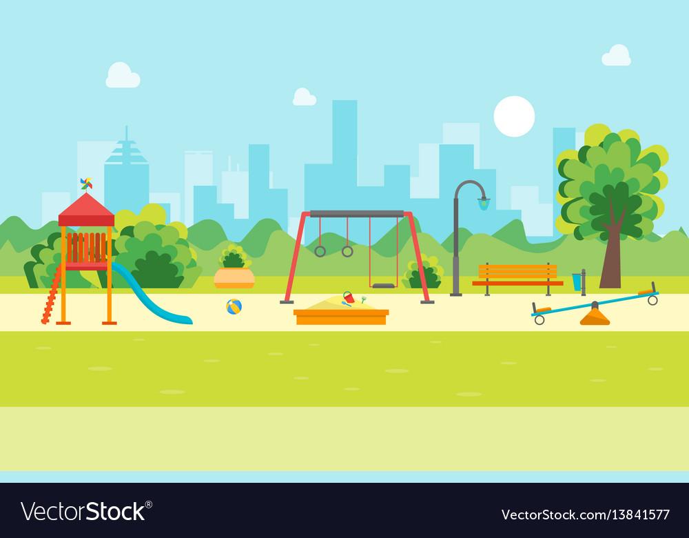 Cartoon urban park kids playground