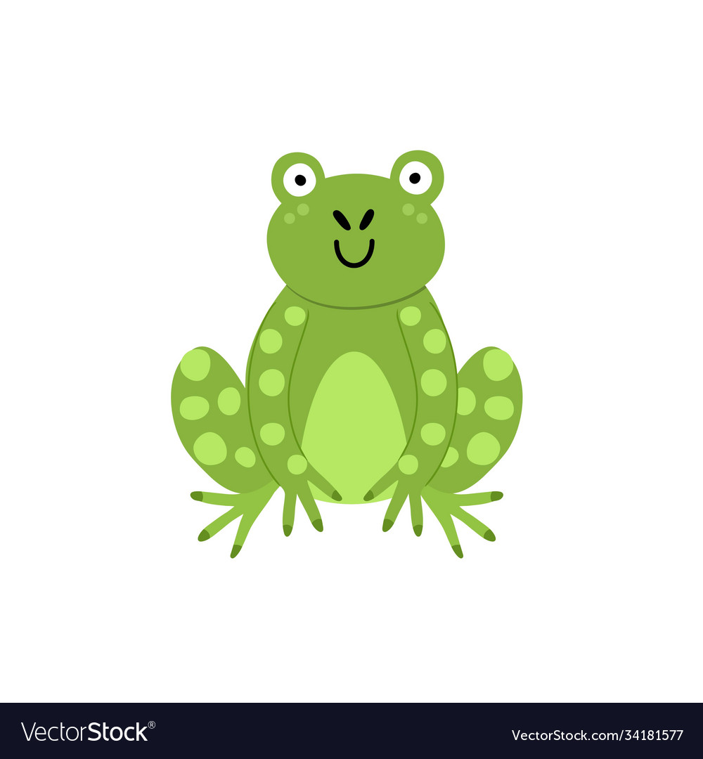 Cute frog print for kids funny character isolated