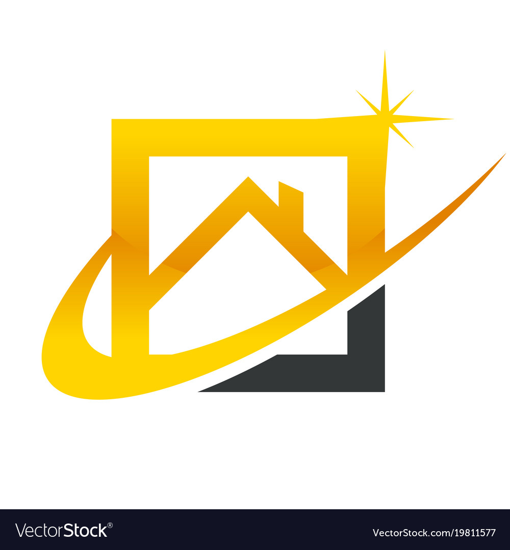 Gold Real Estate House Roof Icon Royalty Free Vector Image