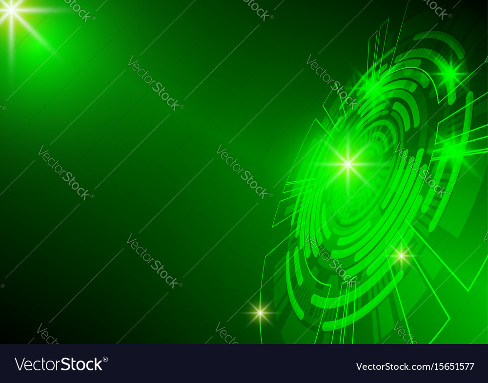 Green circle and light technology background