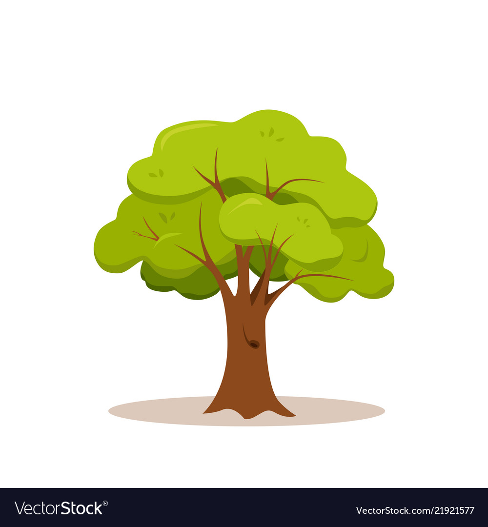 Green tree colorful cartoon style design icon