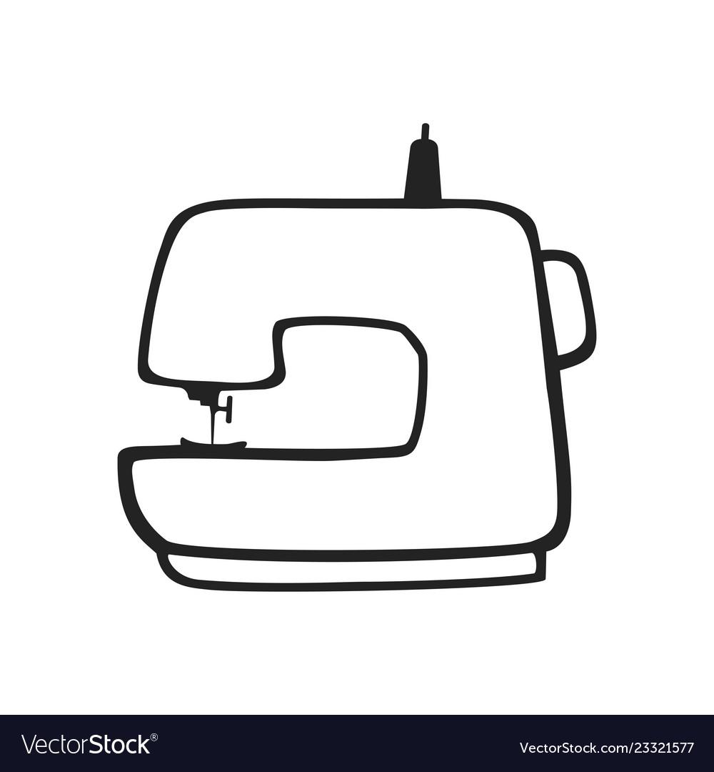 Hand drawn icon of sewing machine