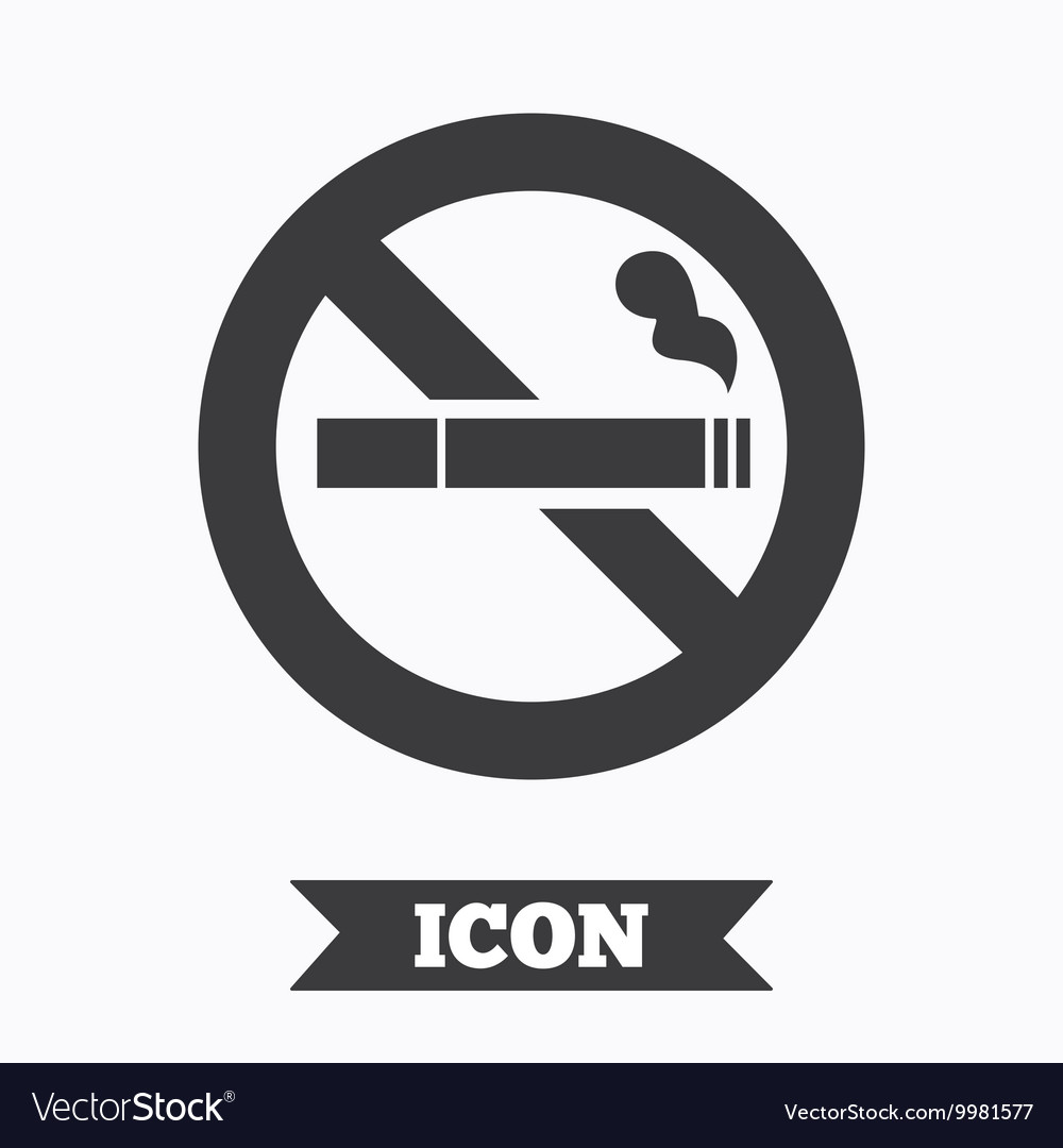 No Smoking sign icon Cigarette symbol