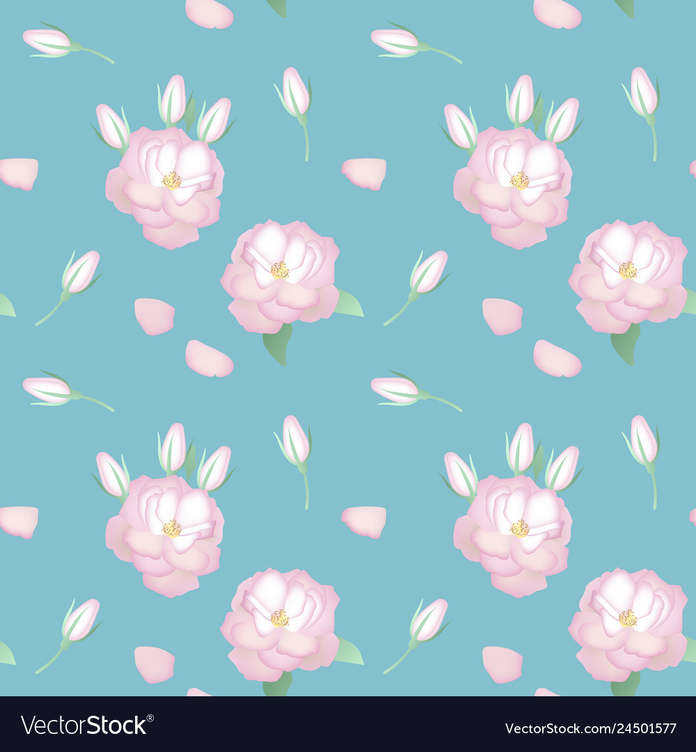 Seamless pattern with realistic roses in vintage