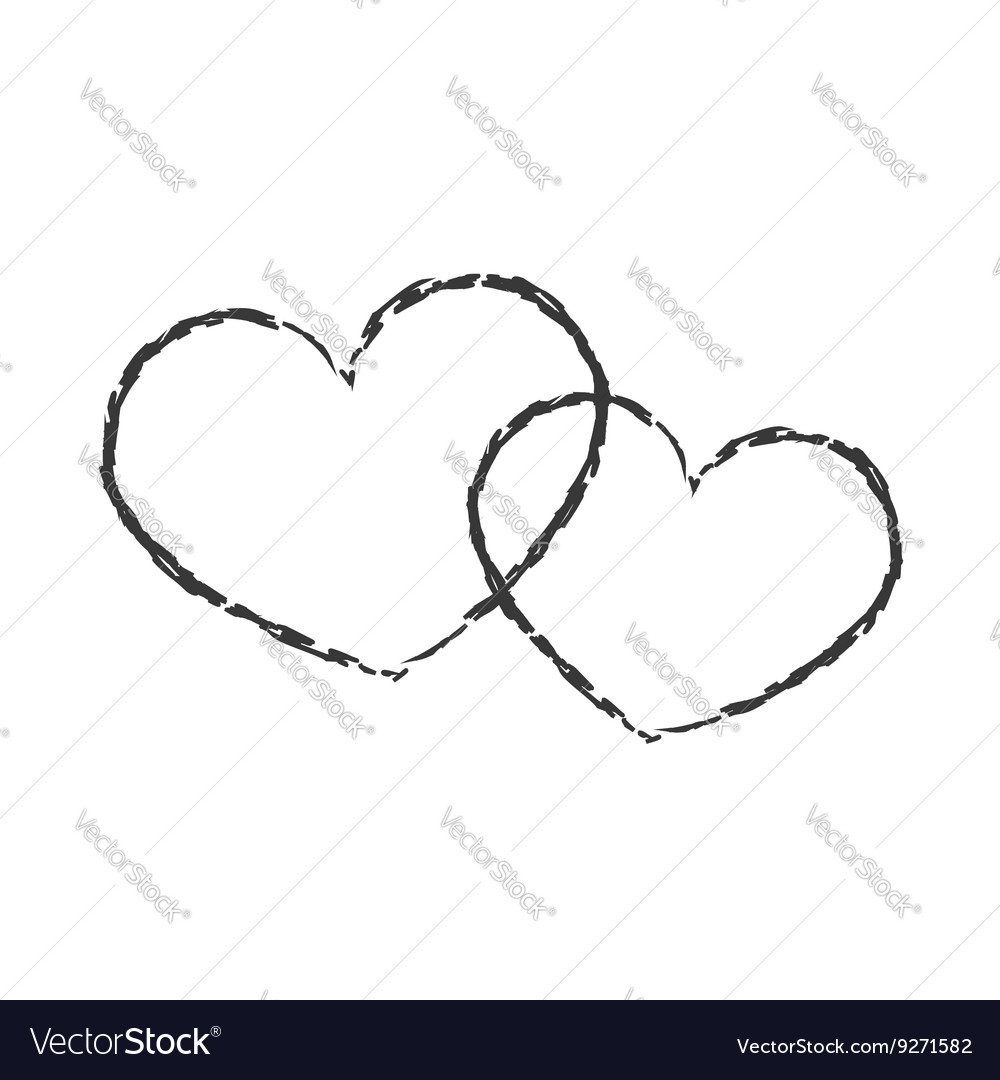 Black hearts icon double grunge 3 vector image