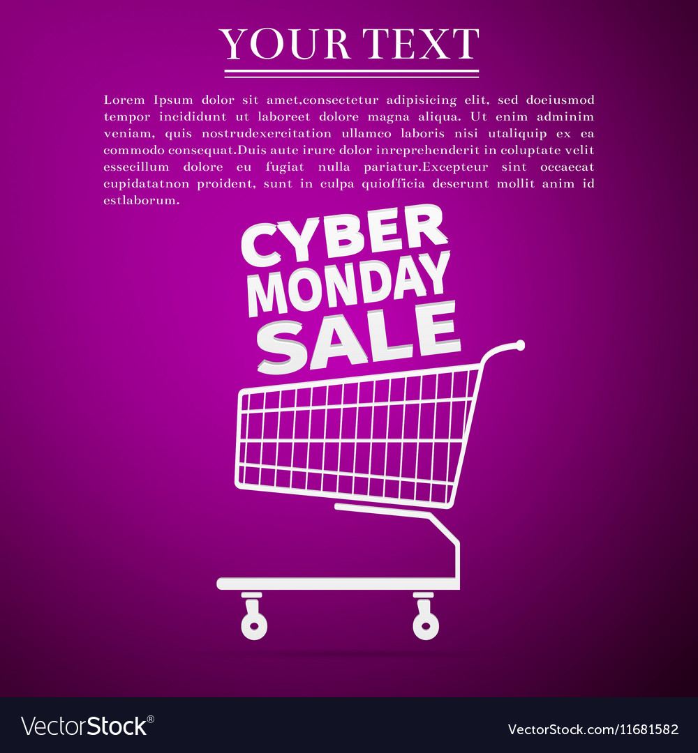 Cyber Monday Sale Shopping cart flat icon over