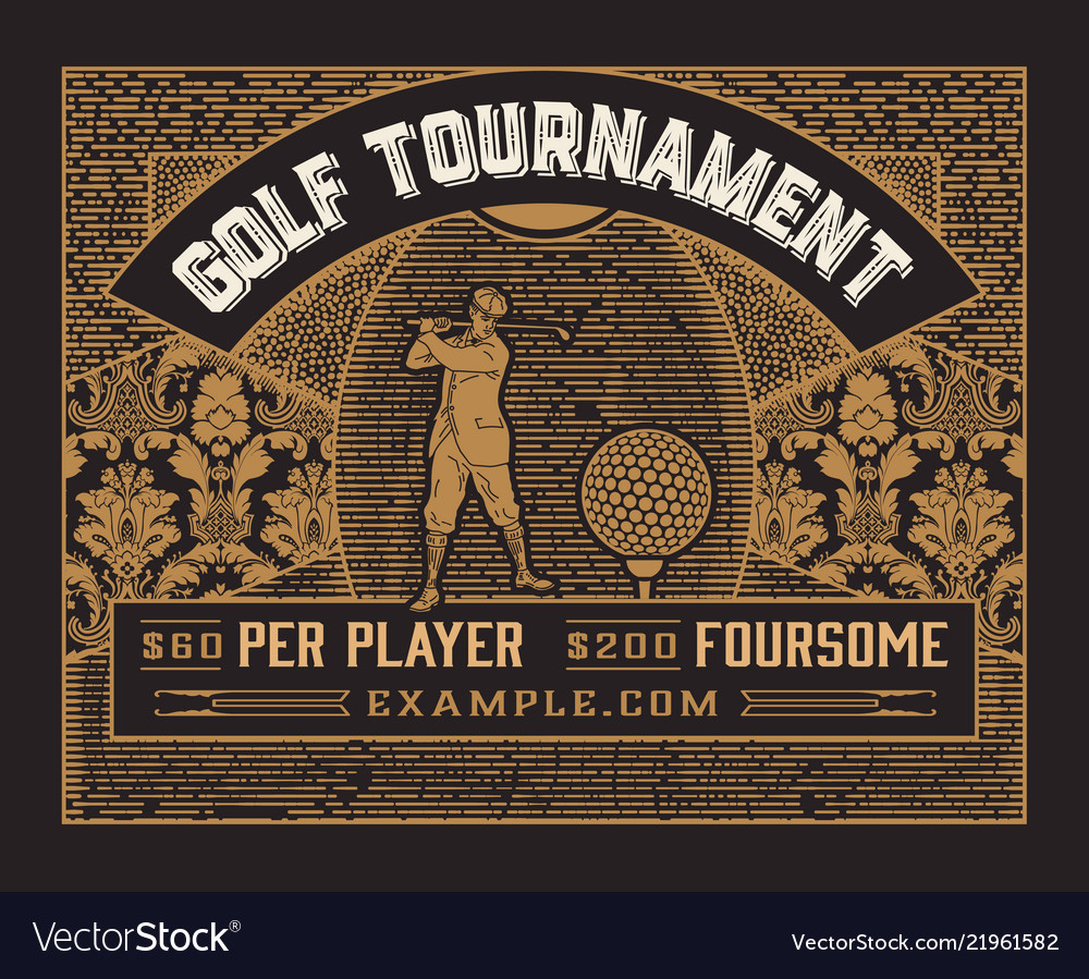 Golf tournament template vintage style