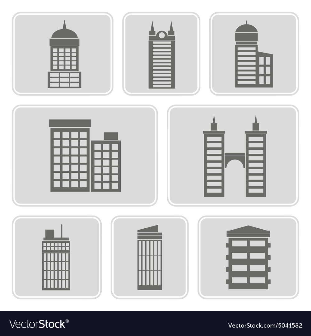 Icons with various city buildings