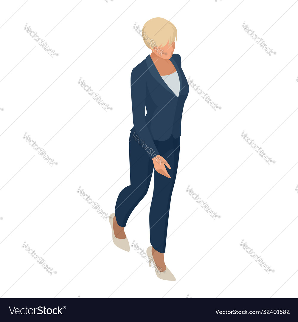 Isometric business women stylish isolated on white