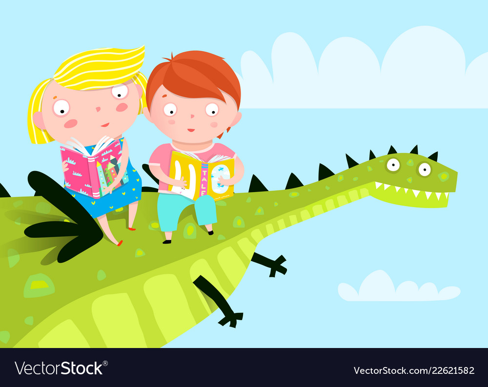 Kids Flying Dragon Reading Books Royalty Free Vector Image