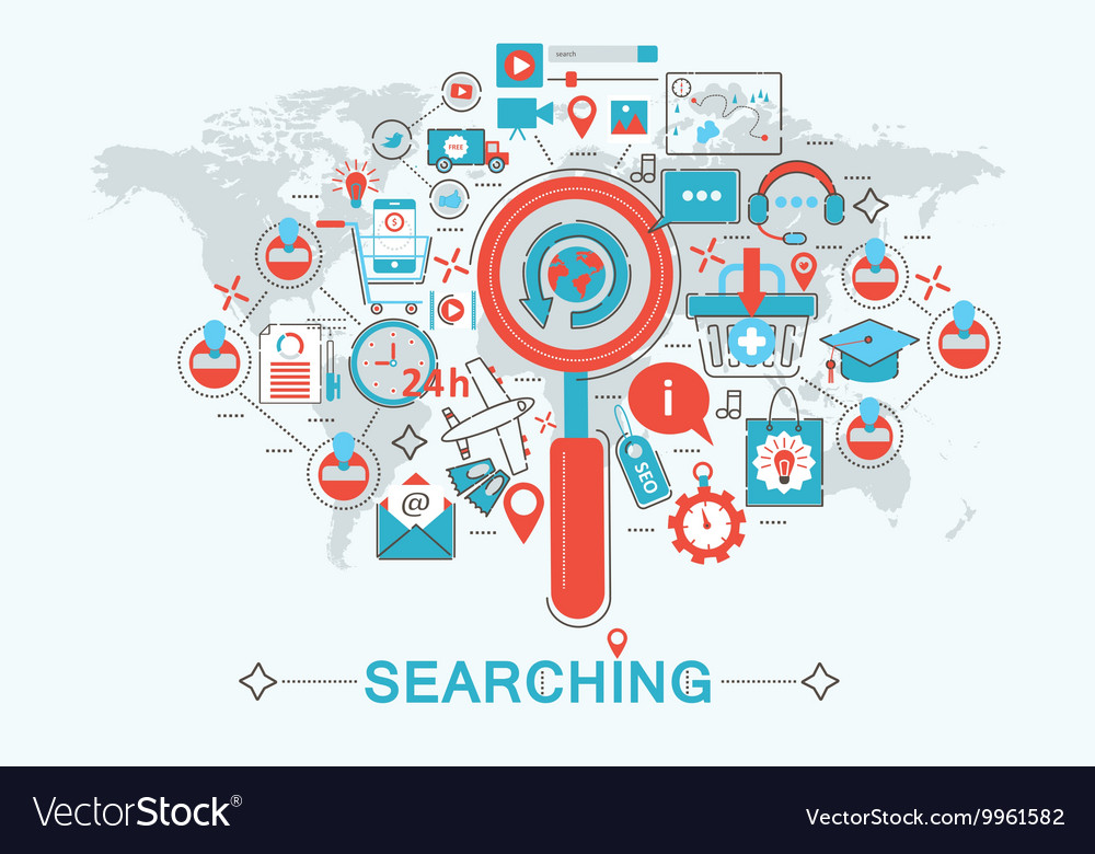 Modern Flat thin Line design Searching seo find