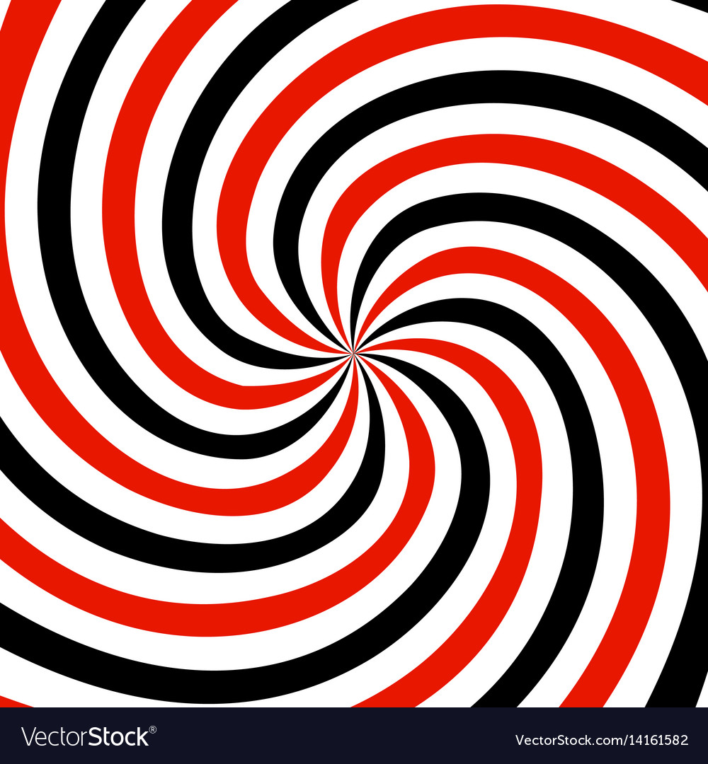 Red black and white summer spiral ray pattern vector image