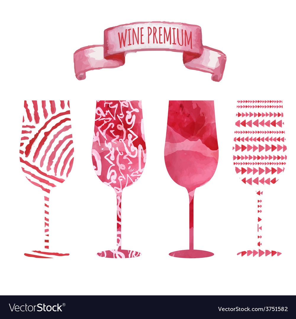 Set Of Art Watercolor Wine Glass Royalty Free Vector Image