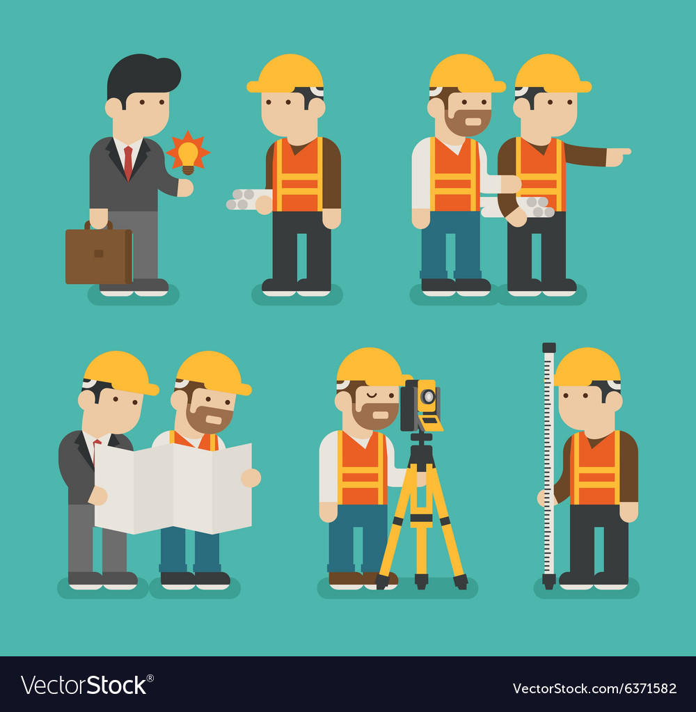 Set of construction worker eps10 format vector image
