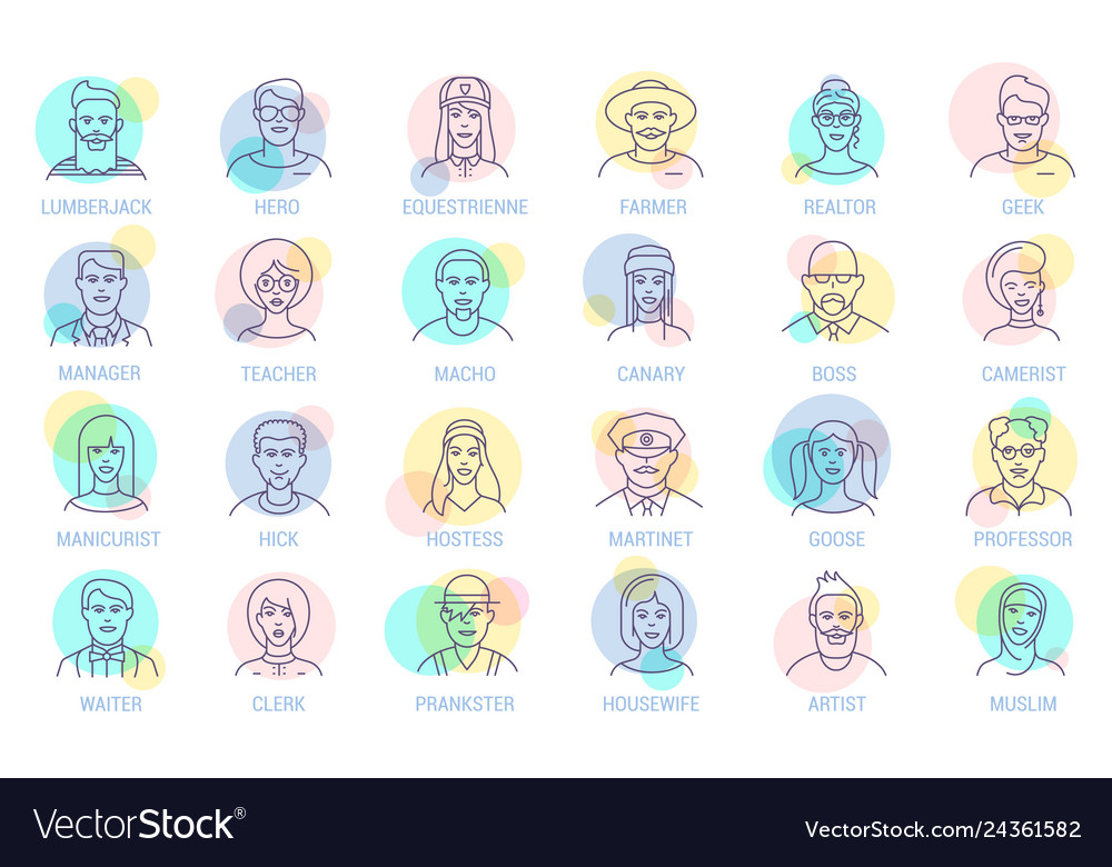 Thin line online people icon set