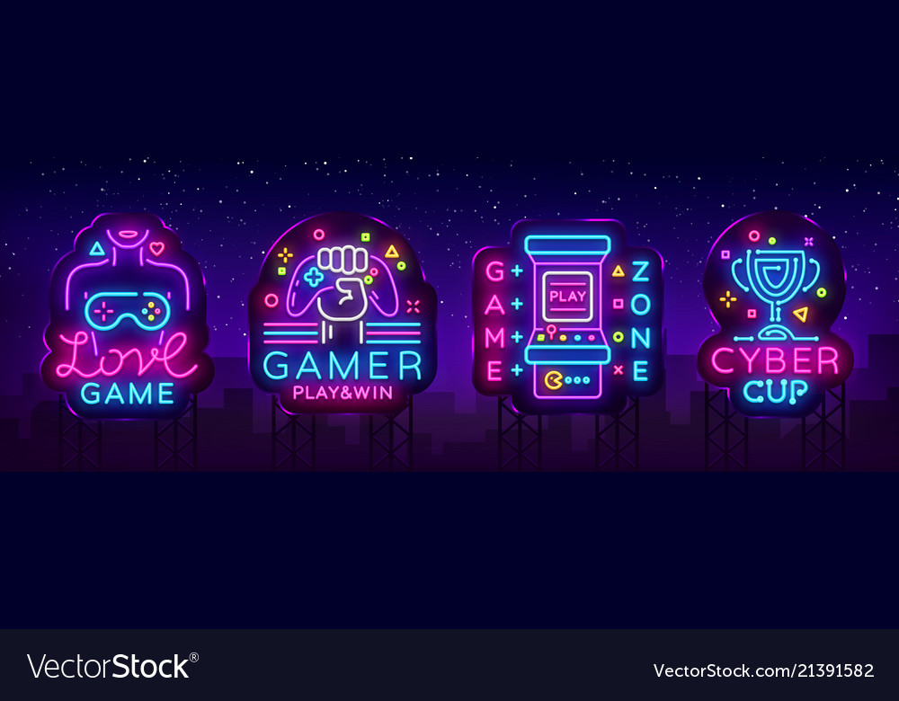 Video game neon sign collection conceptual
