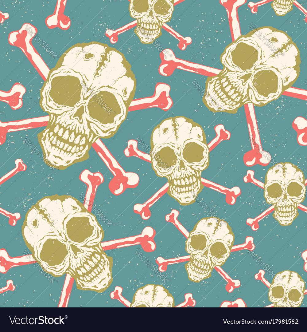 Vintage pattern with skulls vector image