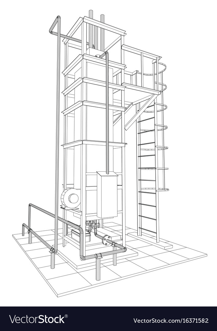 Wire-frame oil and gas industrial equipment vector image