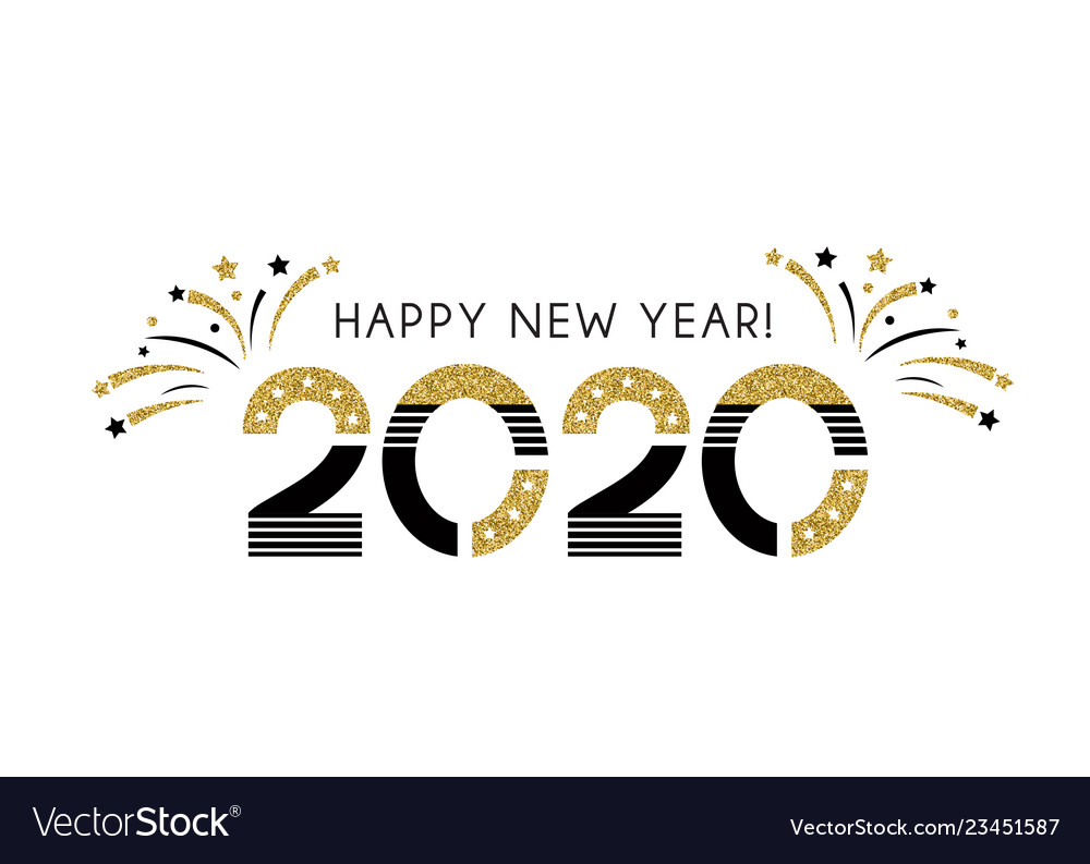 2020 happy new year sign with golden