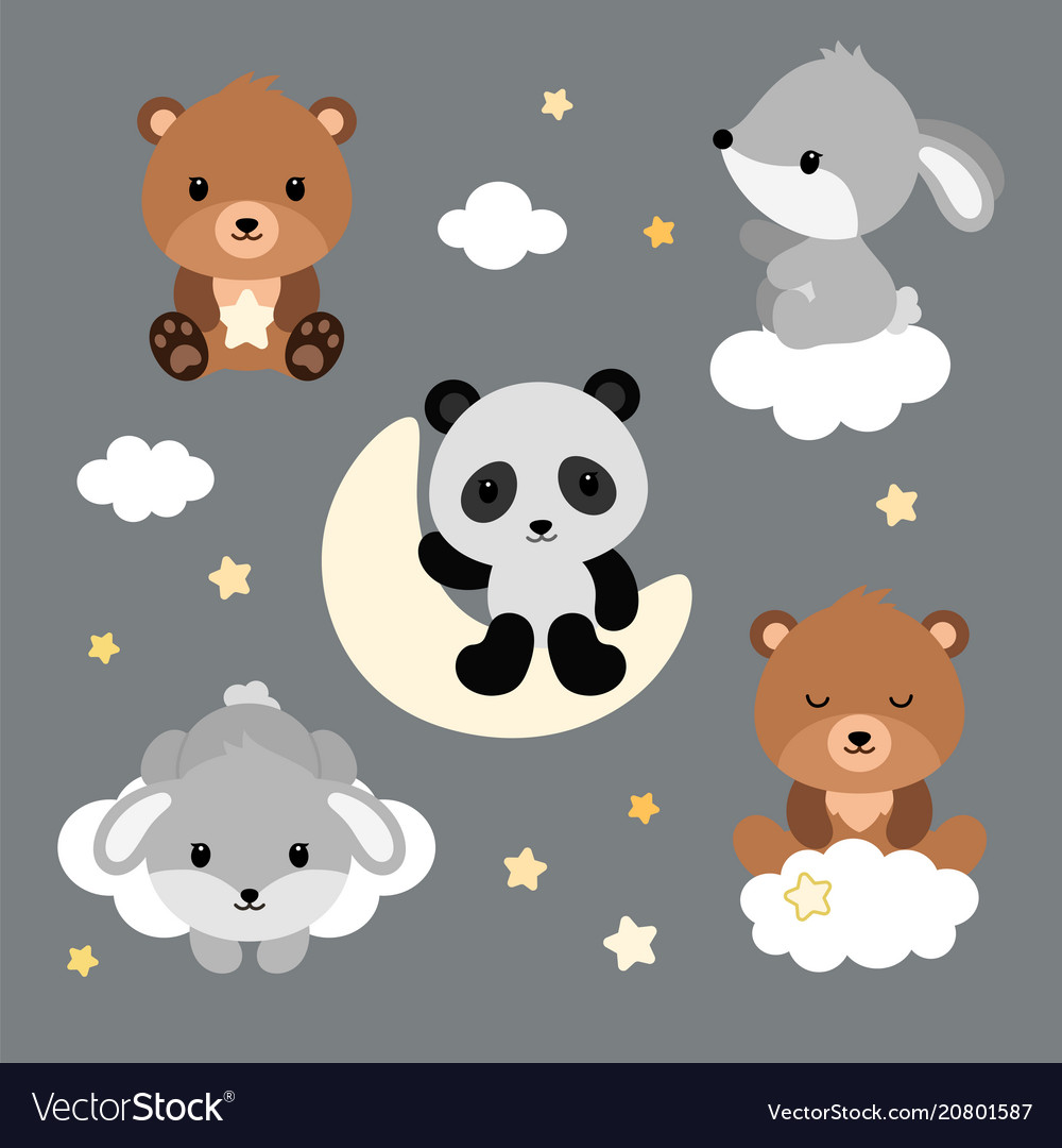 Adorable flat sleeping animals set