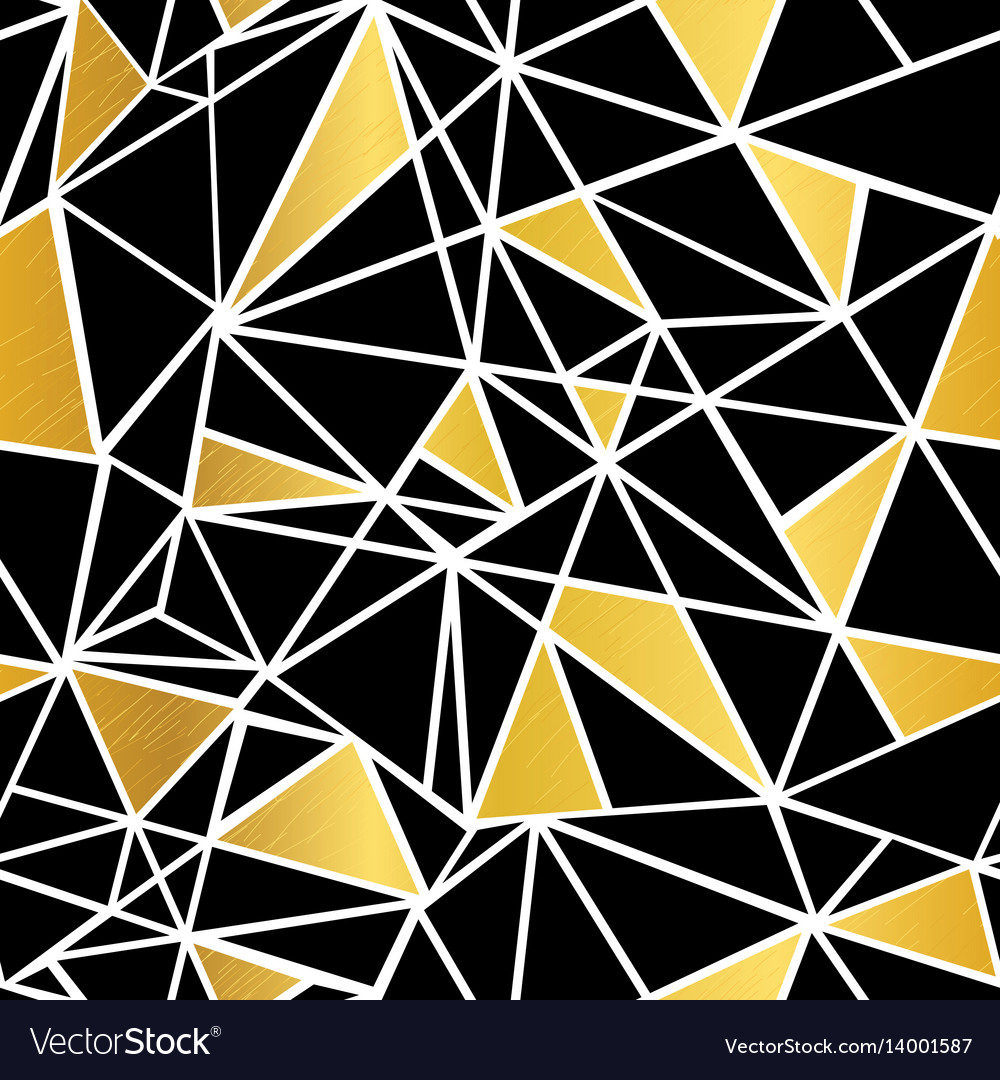 Black white and gold foil geometric