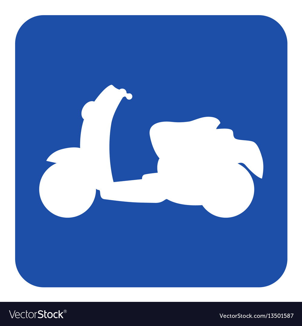 Blue white information sign - scooter icon vector image