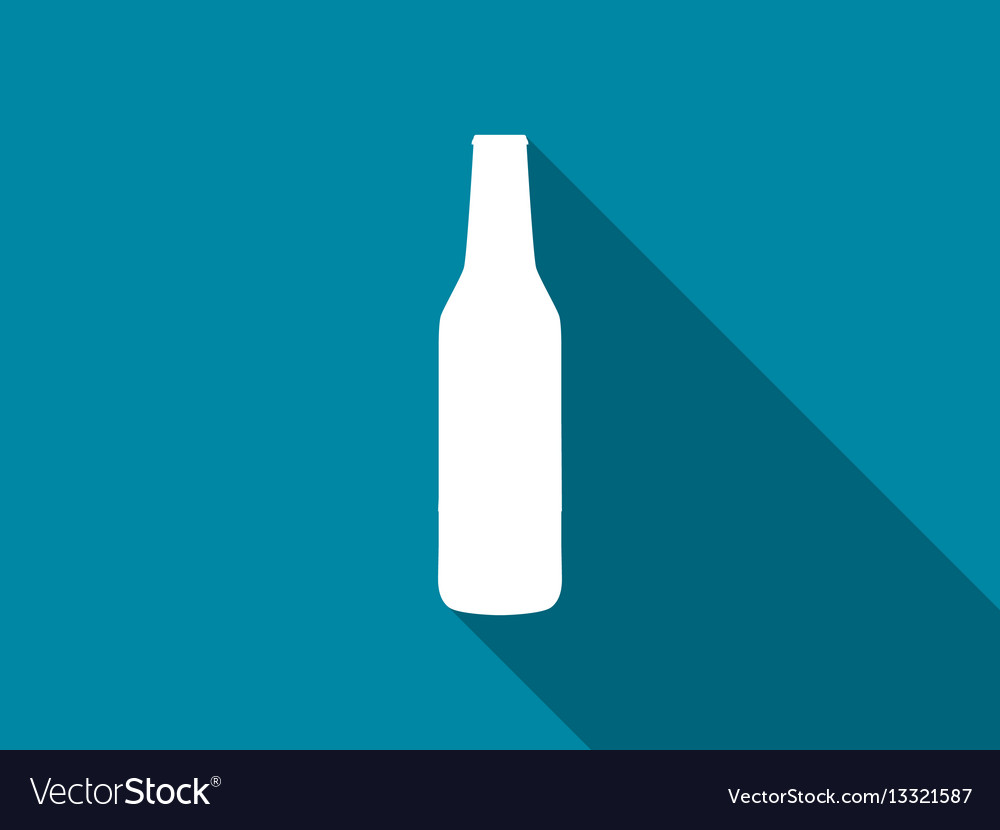 Bottle of beer flat icon with long shadow vector image
