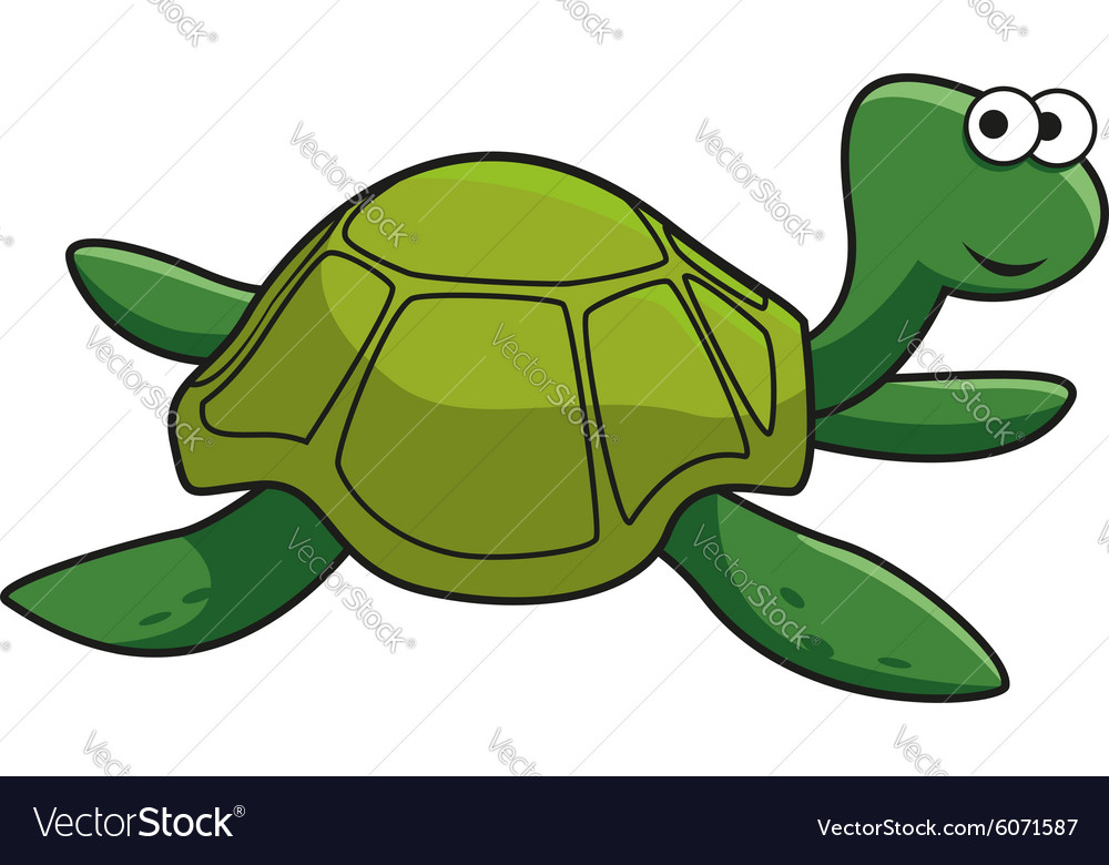 Cartoon Smiling Green Turtle Character Royalty Free Vector