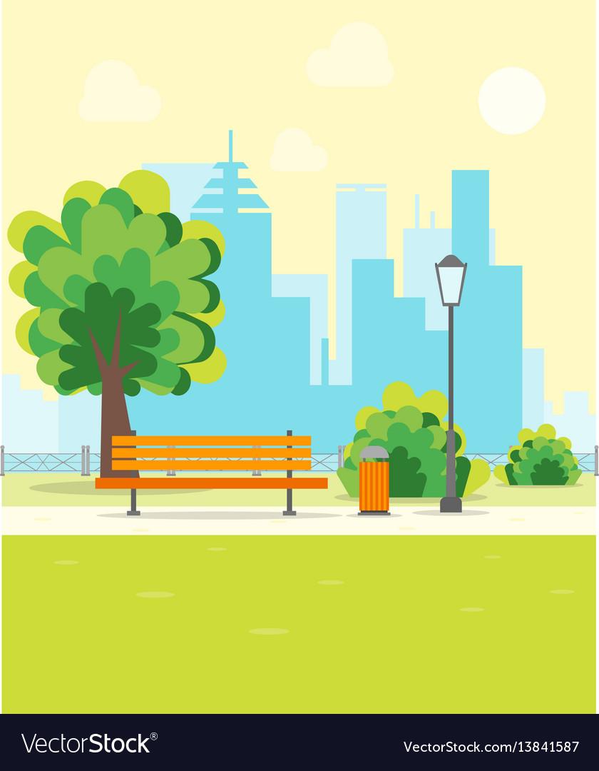 Cartoon urban park with bench