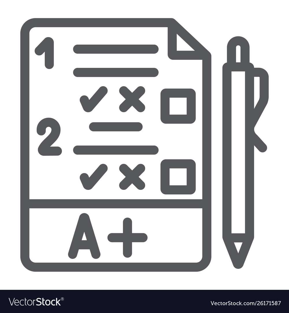 Exam line icon questionnaire and form task sign