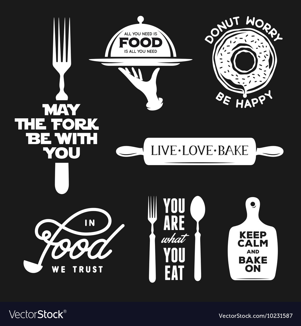 Food related typography set Quotes about cooking vector image