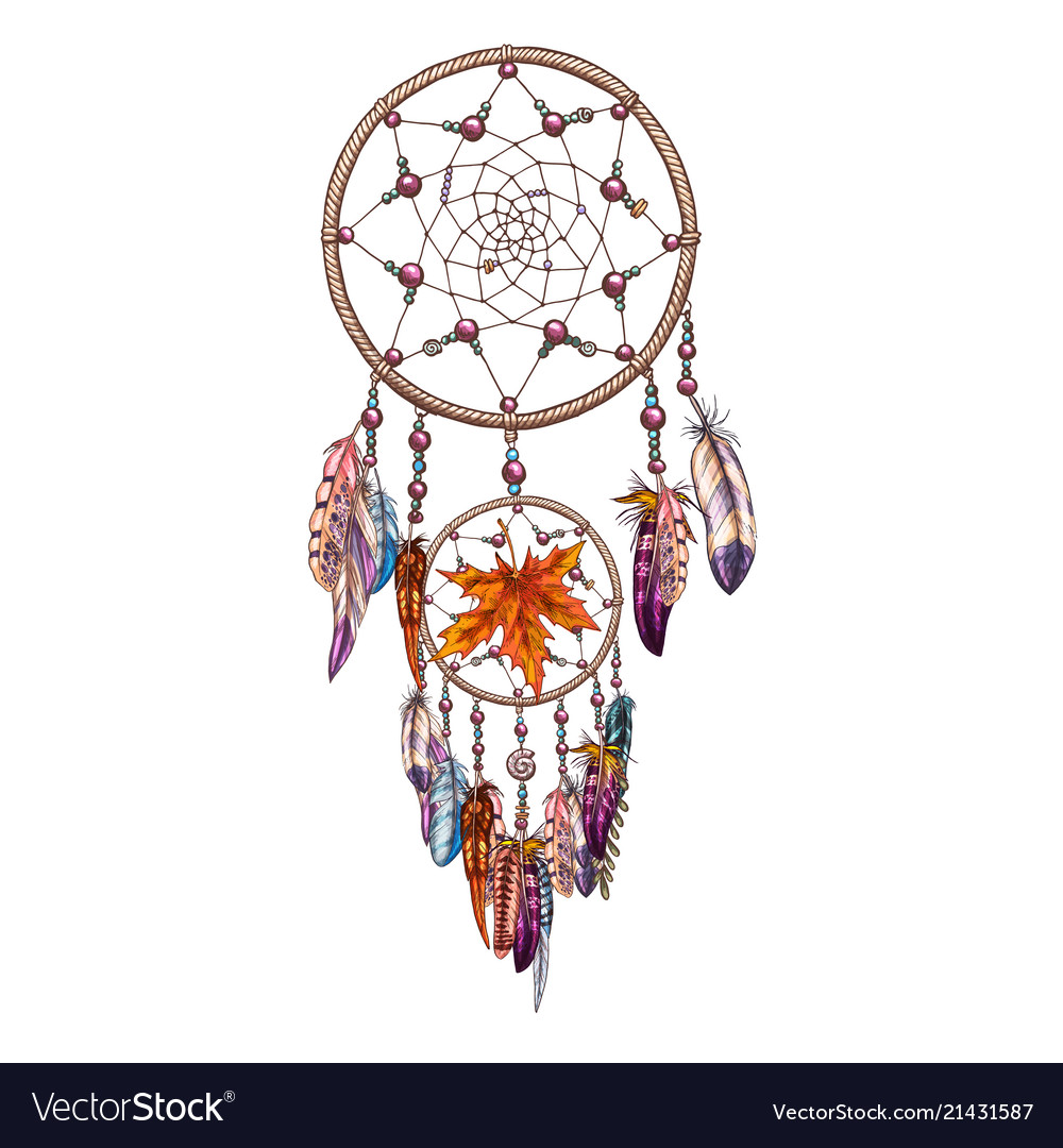 Hand drawn ornate dreamcatcher with feathers and