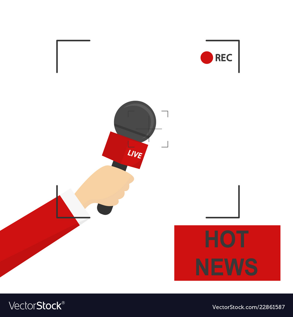 Hand with microphone recording frame hot news