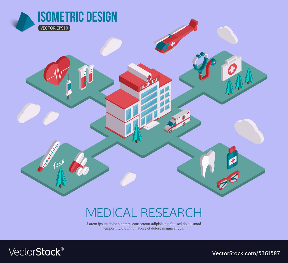 Isometric 3d Medical research and Healthcare