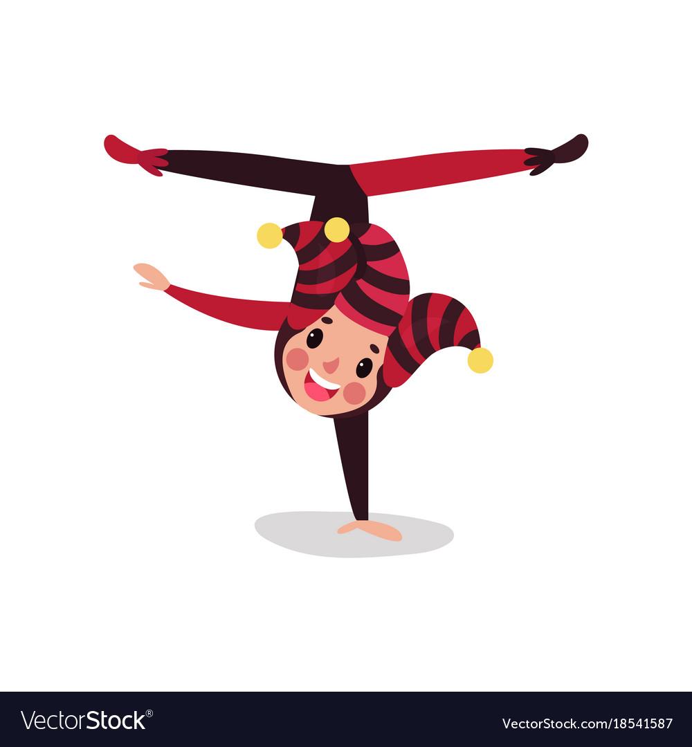 Joker cartoon character doing split upside down