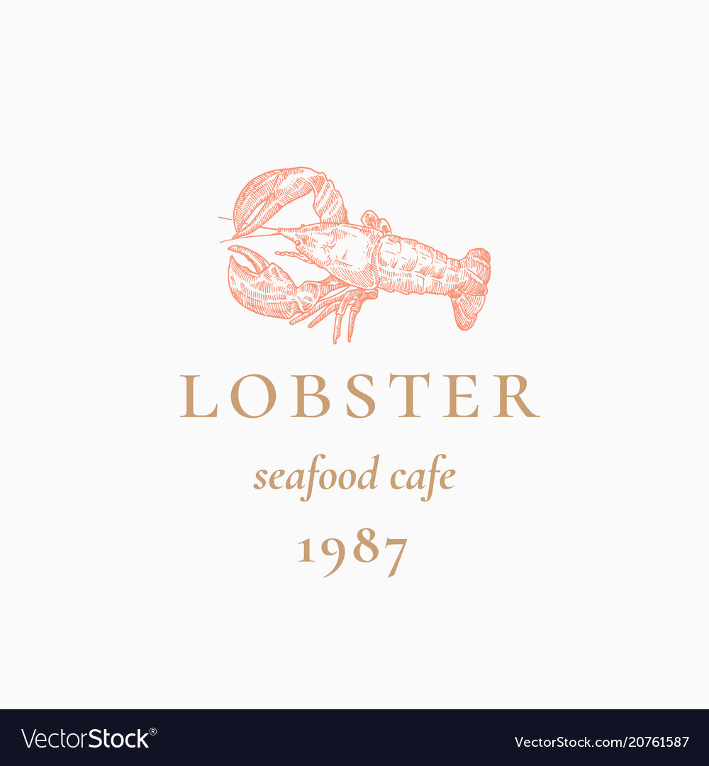 Lobster Abstract Sign Symbol Or Logo Royalty Free Vector