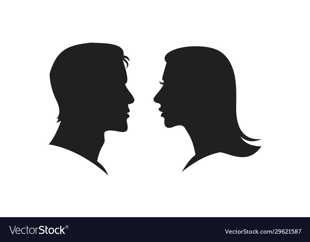 man and woman silhouette face to face icon vector image vectorstock