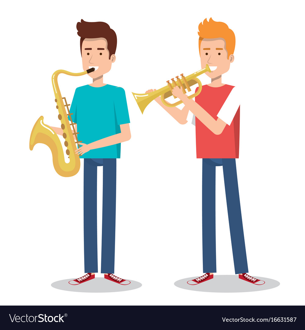 Musicians and musical instruments concert vector image