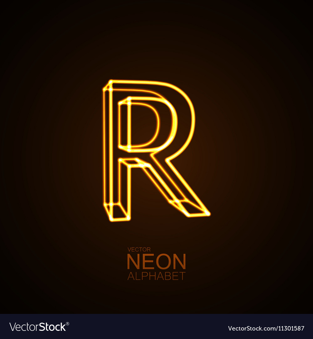 Neon 3d letter r royalty free vector image vectorstock neon 3d letter r vector image altavistaventures Image collections