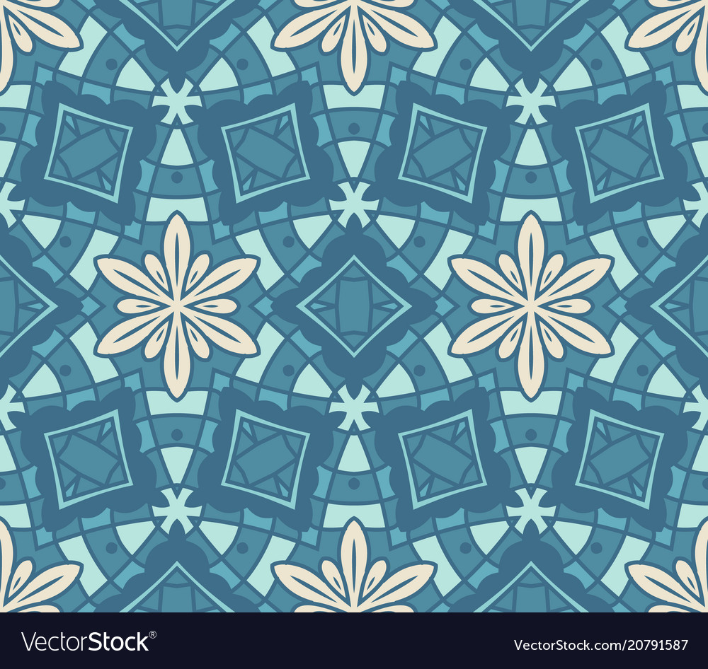 Seamless pattern blue tiles with abstract flower