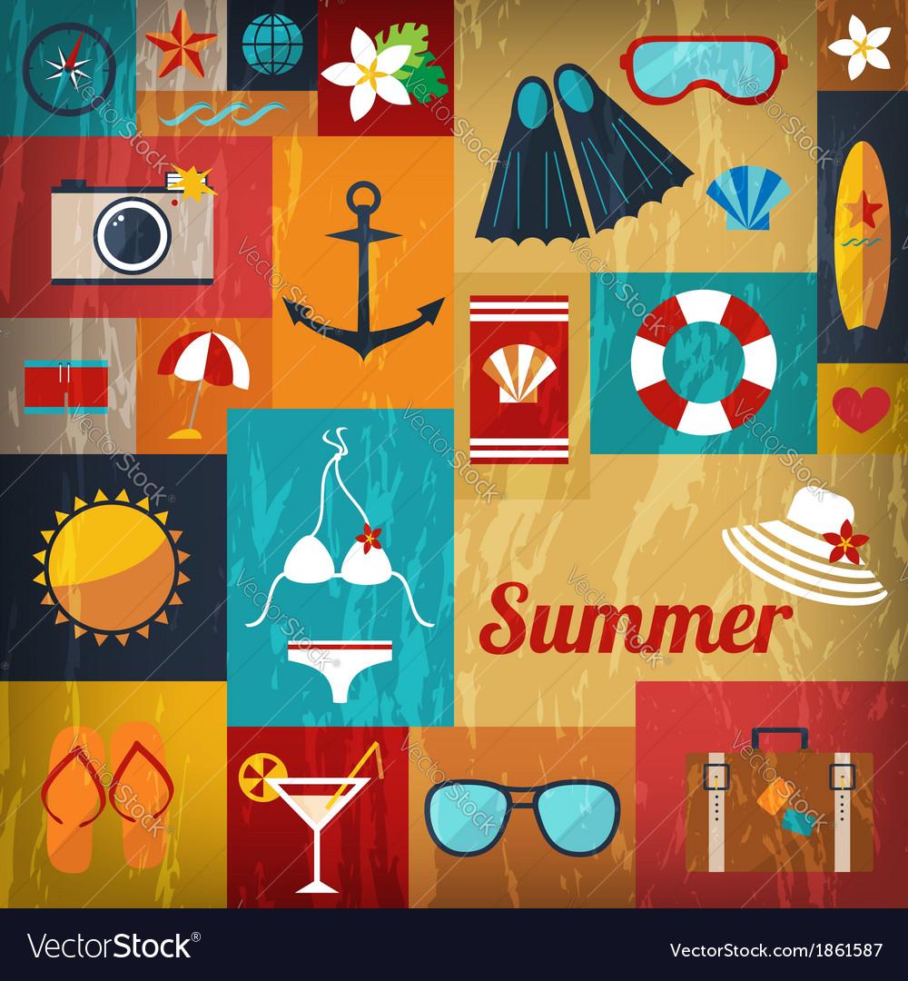 Summer retro flat background