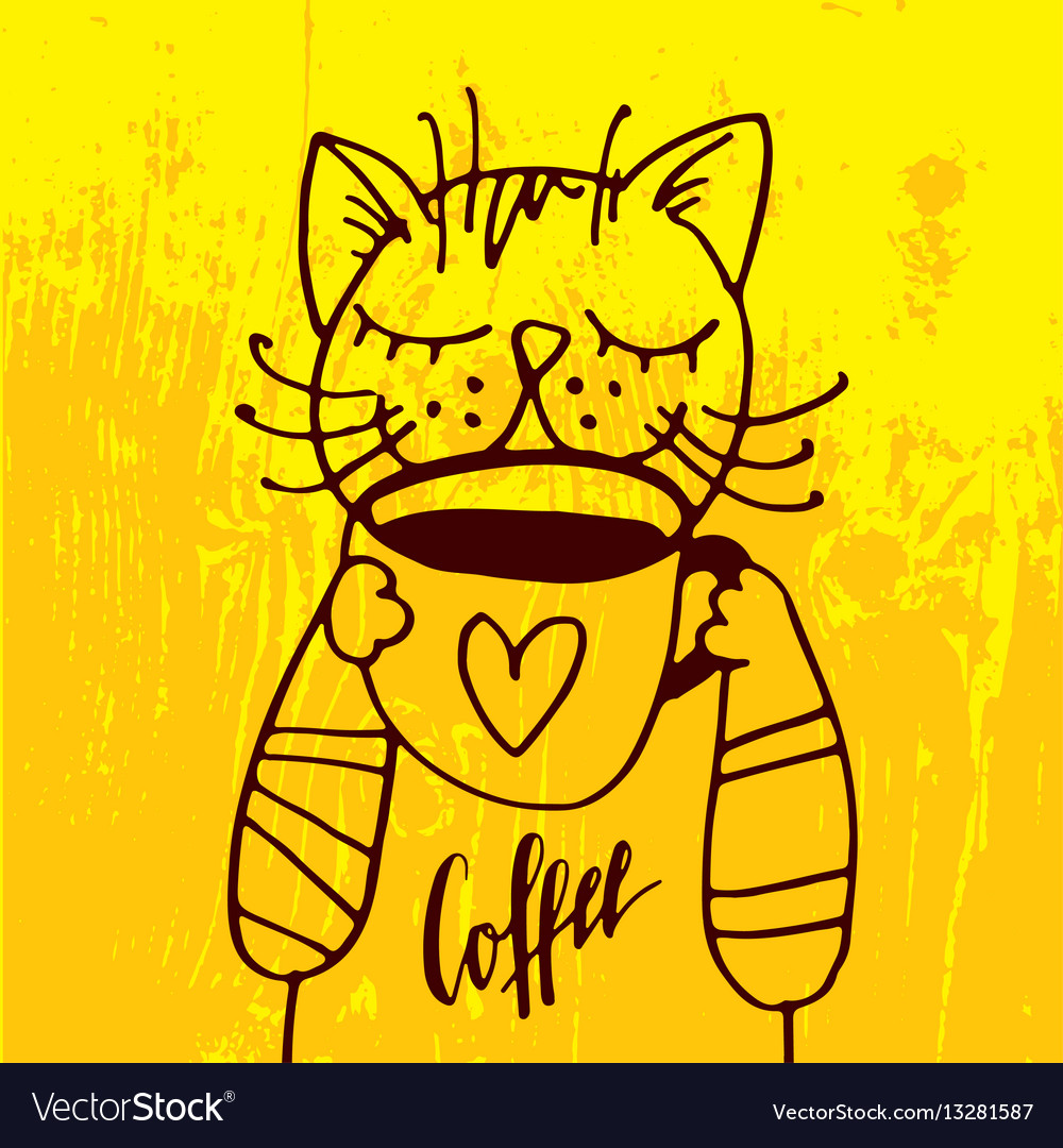 The cat is drinking a cup of coffee in the cozy vector image