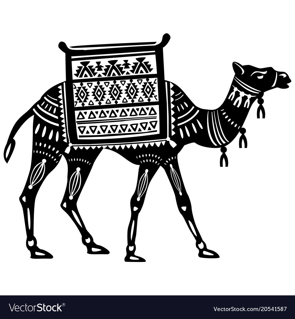 The stylized figure of decorative camel vector image