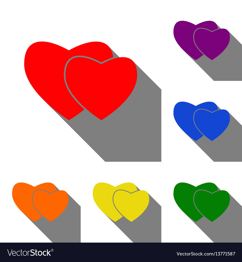 Two hearts sign set of red orange yellow green vector image