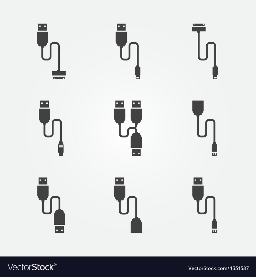 USB cables icons