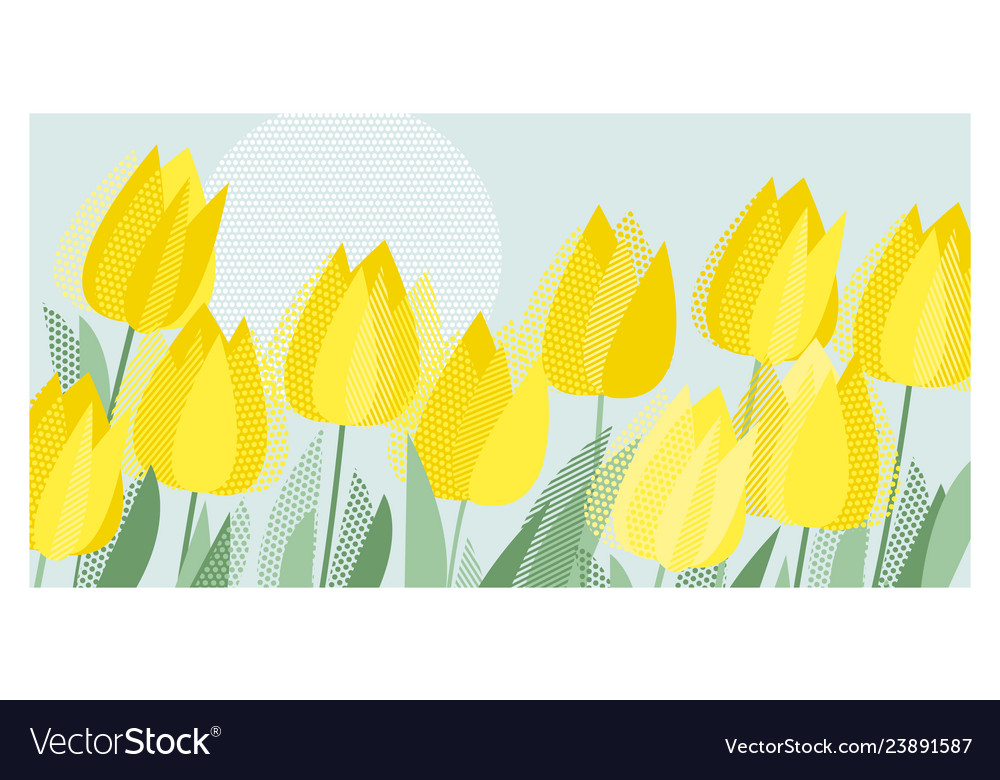 Yellow decorative tulip floral header template