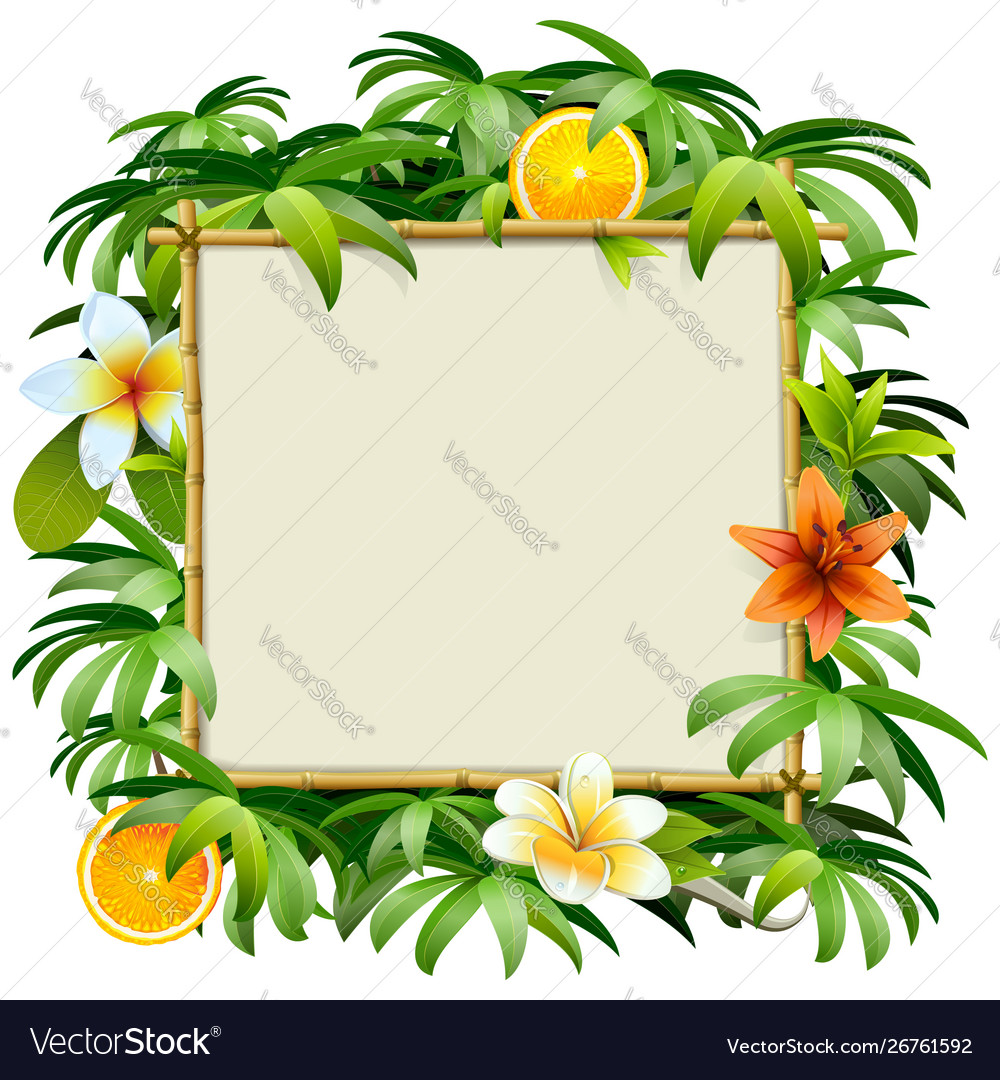 Bamboo frame with tropical flowers